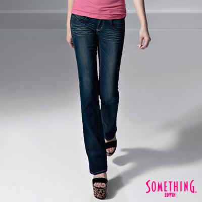【SOMETHING】閃耀光澤 CELEB亮片靴型牛仔褲-女款(拔洗藍)