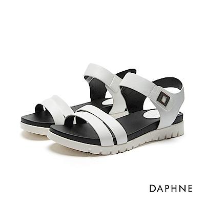 達芙妮DAPHNE 涼鞋-鋸齒鞋底魔鬼氈雙一字平底涼鞋-白