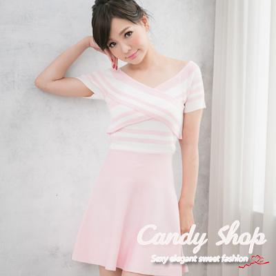 Candy小舖-新品特色款氣質甜美短袖條紋交叉設計下擺A字洋裝-淺粉色