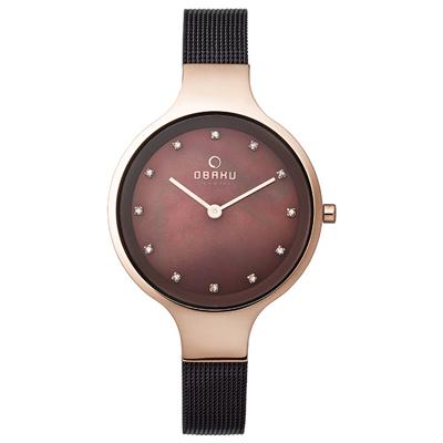 OBAKU 星光眷戀米蘭時尚腕錶-玫瑰金框x咖啡/33mm