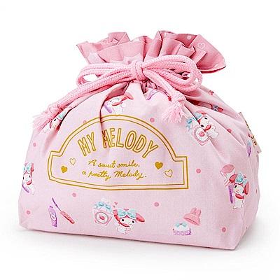 Sanrio  美樂蒂日本製棉質縮口便當袋(化妝小物)