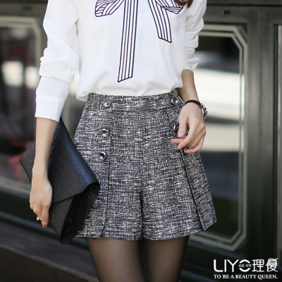 LIYO理優韓系褲子排釦褲裙-黑