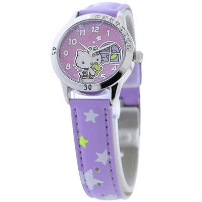 Hello Kitty 午夜冒險晶鑽腕錶-紫/28mm