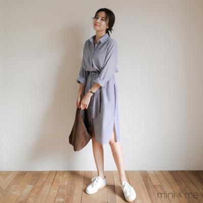 洋裝 襯衫式條紋連身洋裝 贈腰帶-mini&me
