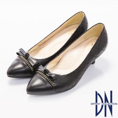 DN-優雅簡約-MIT全真皮蝴蝶結菱紋跟鞋-黑
