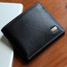 ABS愛貝斯 男用短夾 橫式皮夾 雙層鈔票層(黑)7073-007