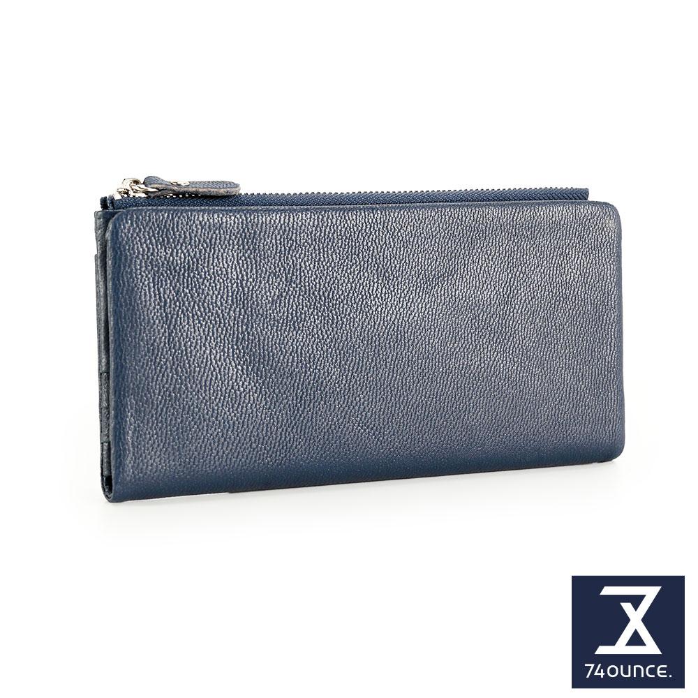 74盎司 簡約設計小羊皮長夾[LN-705]藍