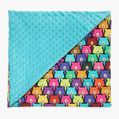 La Millou 單面巧柔豆豆毯-小熊軟糖(藍綠調色盤)