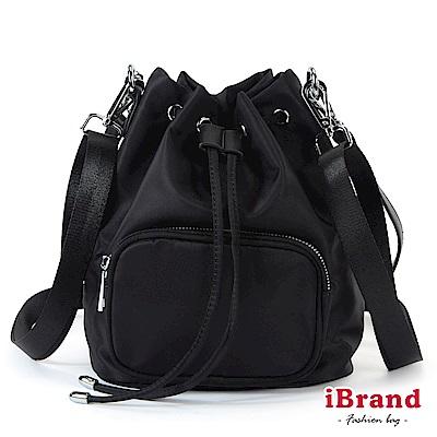 iBrand 簡約口袋3 WAY水桶包後背包-黑