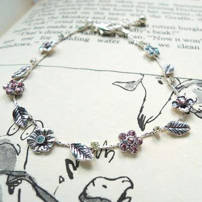 KOURIN花園系列-復古銀色彩鑽丁香花園手鍊(銀鍊)
