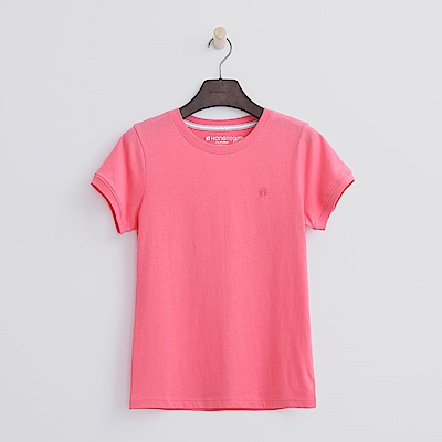 Hang Ten - 女裝 - 有機棉 圓領多彩T恤-桃粉色