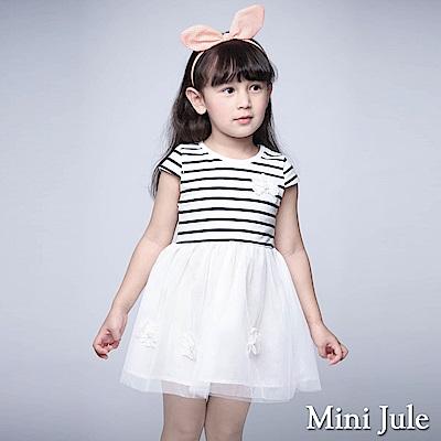 Mini Jule 童裝-洋裝 珠珠蕾絲花朵條紋網紗洋裝(寶藍)