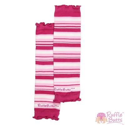 RuffleButts 小女童桃紅色條紋暖腳襪套