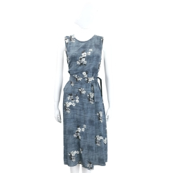 MAX MARA-'S Max Mara 灰藍色白花圖騰絲質無袖洋裝(附腰帶)