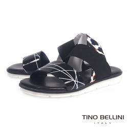 Tino Bellini 義大利進口抽象美學平底涼鞋_黑
