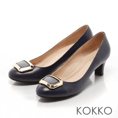 KOKKO-立體方扣真皮高跟鞋-河畔藍