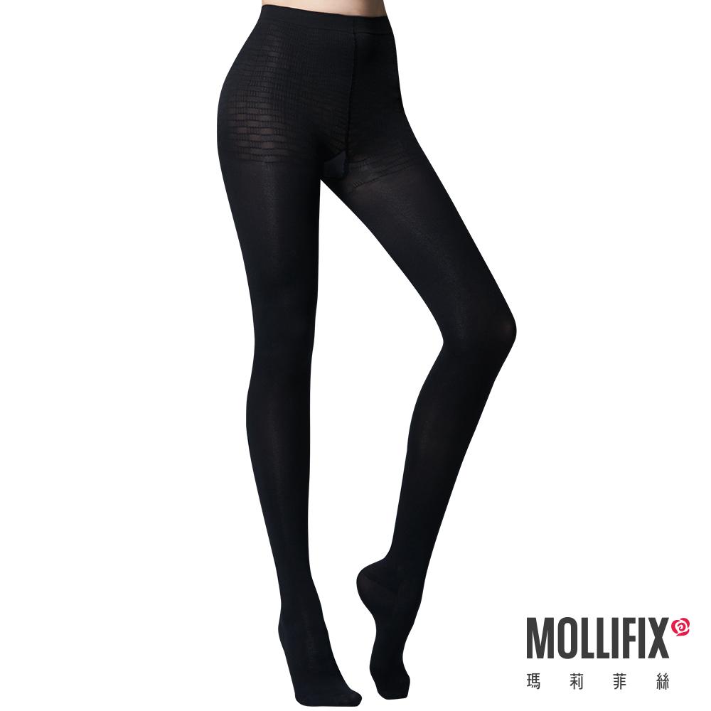 【Mollifix】踮腳尖纖腿塑型塑身襪(黑)