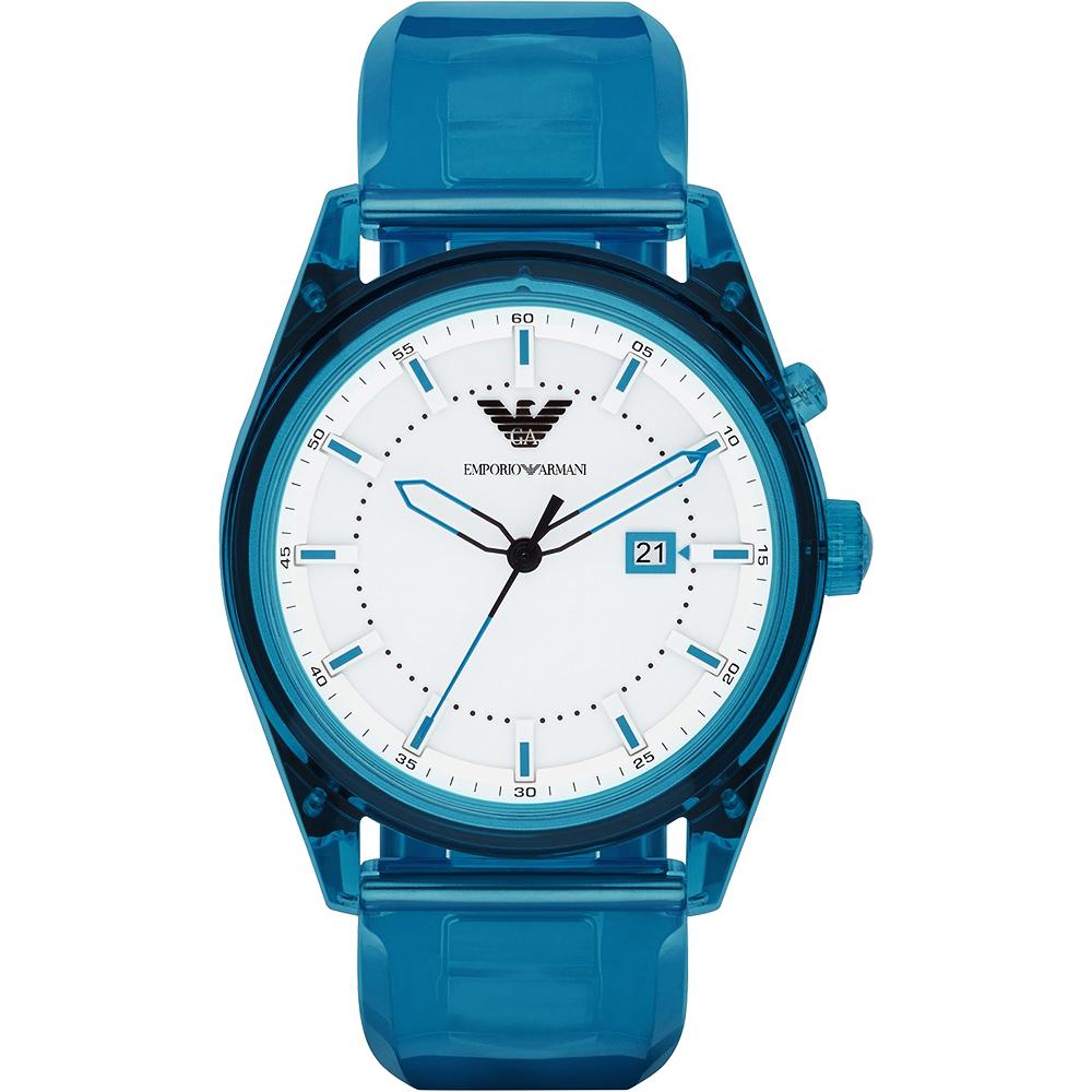 Emporio Armani Summer 時尚腕錶-白x藍/44mm