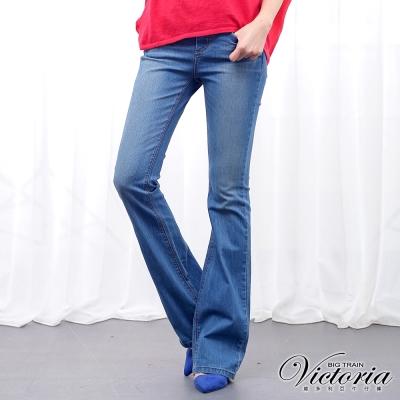 Victoria 中腰繡花配線靴型褲-女-中藍