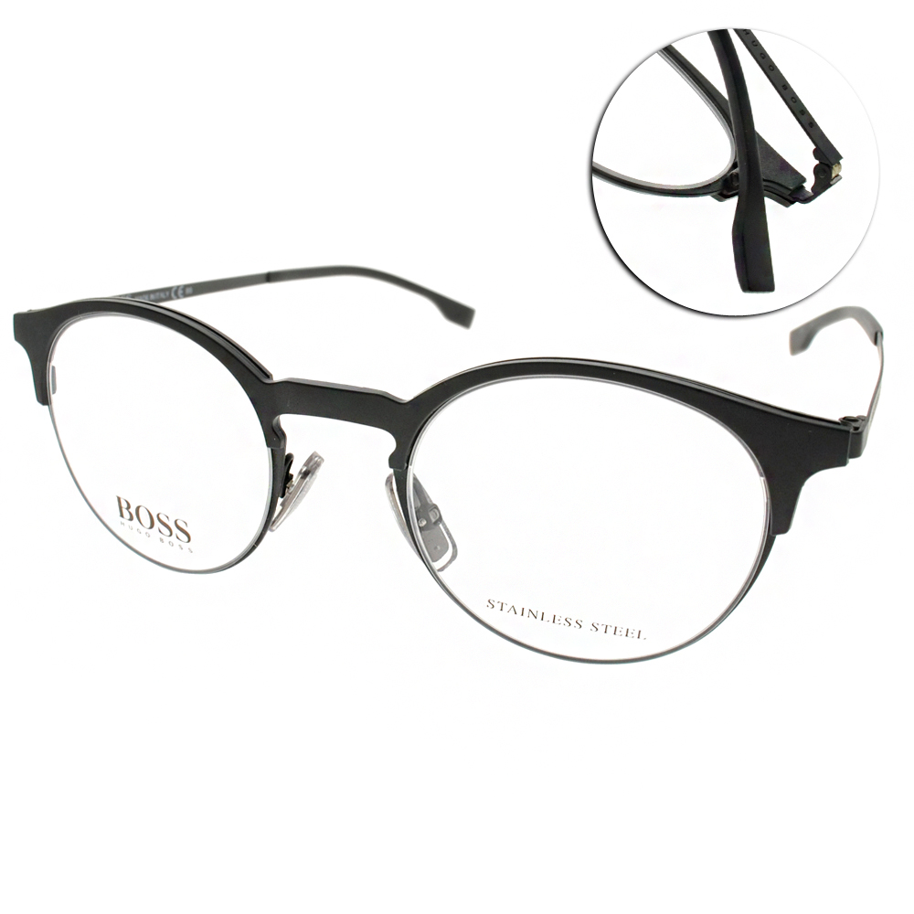 HUGO BOSS眼鏡 簡約半框/霧黑#HB0785 003