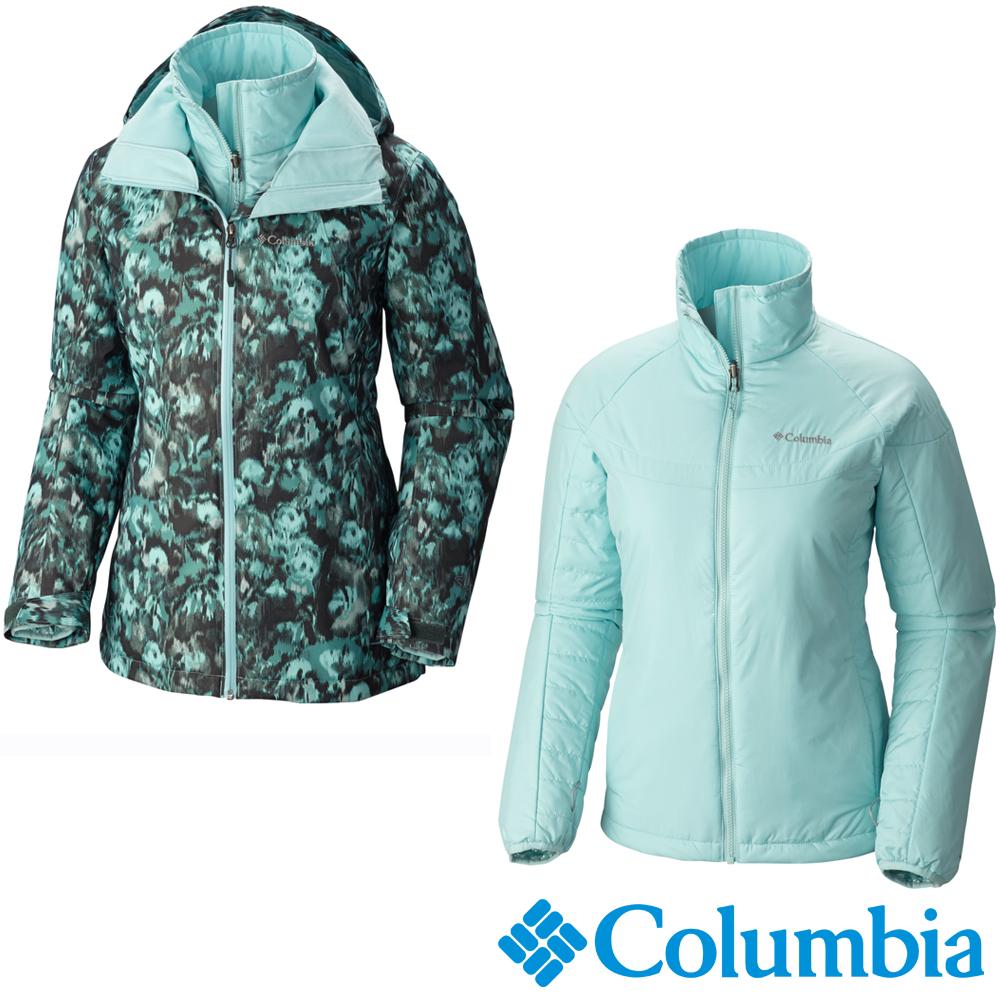 【美國Columbia哥倫比亞】女-兩件式防水保暖外套-綠  USR72230GF