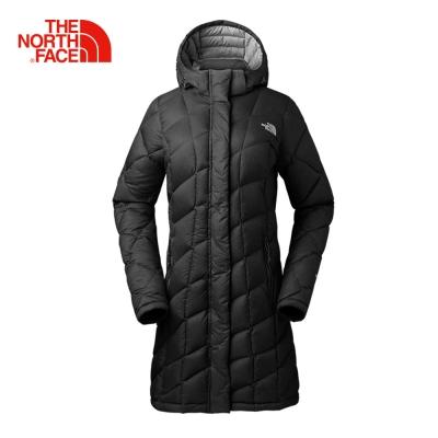 The North Face北面女款黑色長版羽絨服外套