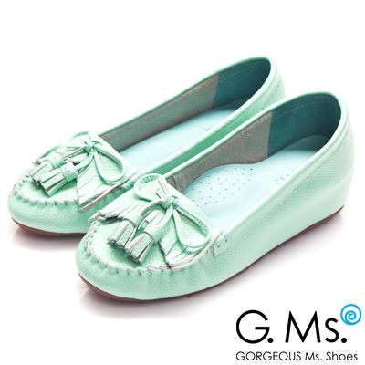 G.Ms.  Q彈新主張-流蘇蝴蝶結真皮內增高豆豆鞋-薄荷綠