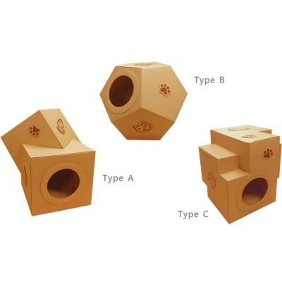A-ONE 多功能 搖滾貓咪屋 三款造型 方塊 足球 積木 X 1入