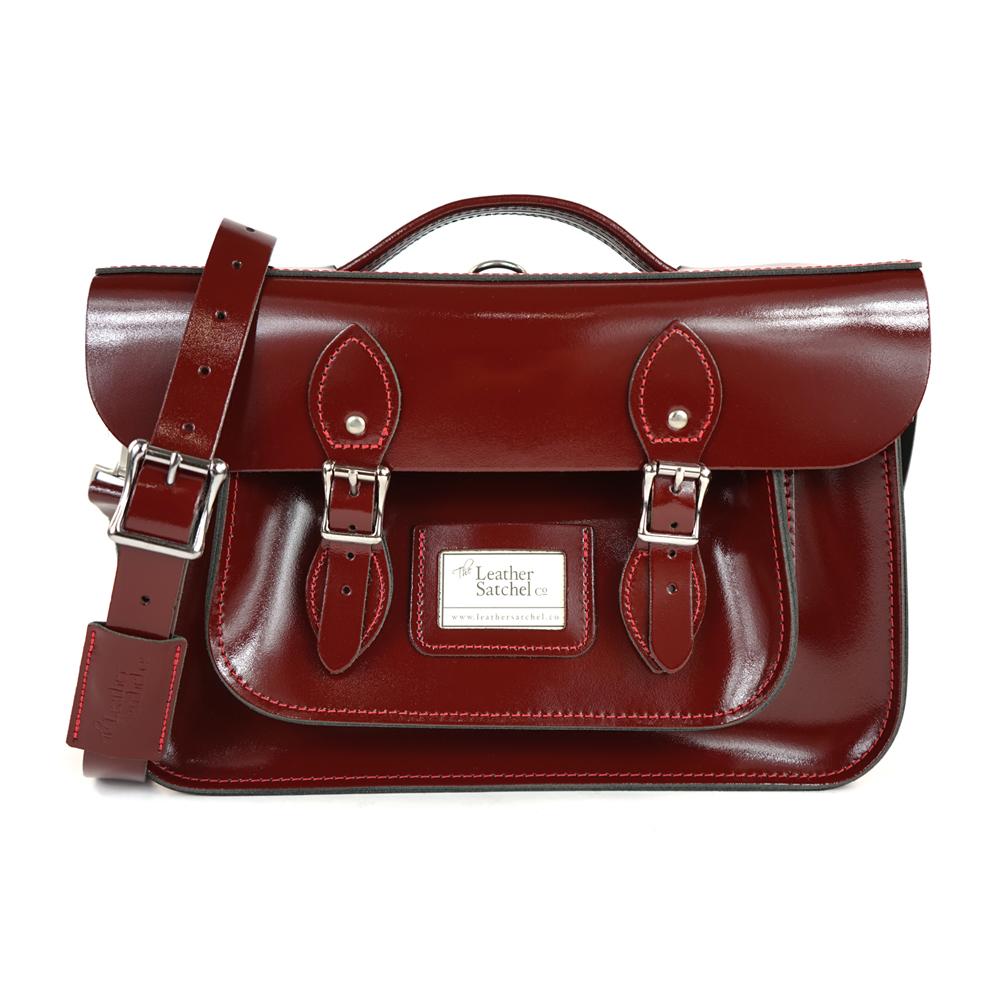The Leather Satchel 英國手工牛皮劍橋包 肩背後背包 誘惑紅 14吋