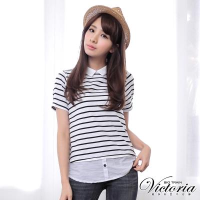 Victoria 襯衫領條紋拼接短袖T-女-白條