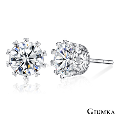 GIUMKA 925純銀耳環針式 心願環繞6/7MM任選-銀色