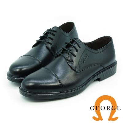 GEORGE 喬治-氣墊系列-牛皮圓頭橫飾寬楦紳士鞋-黑色