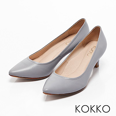 KOKKO -亮麗通勤尖頭全真皮高跟鞋-霧灰藍