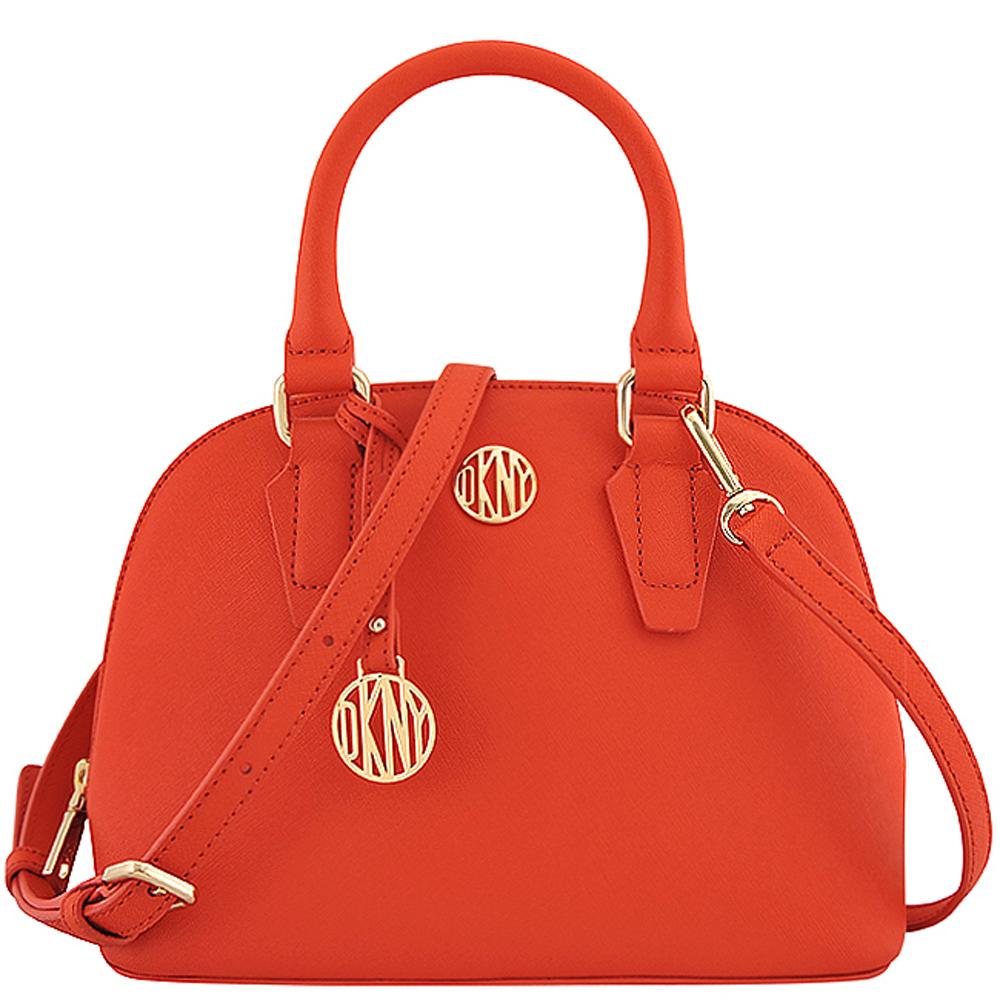 DKNY 橘紅色防刮皮革波士頓包