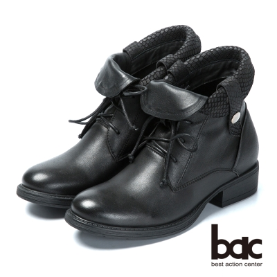 bac雅痞時尚 翻領綁帶真皮短靴-黑色
