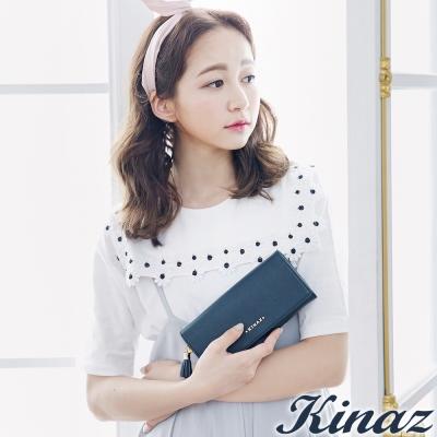 KINAZ-閃耀愛戀掀蓋式長夾-星空藍-英國王妃系