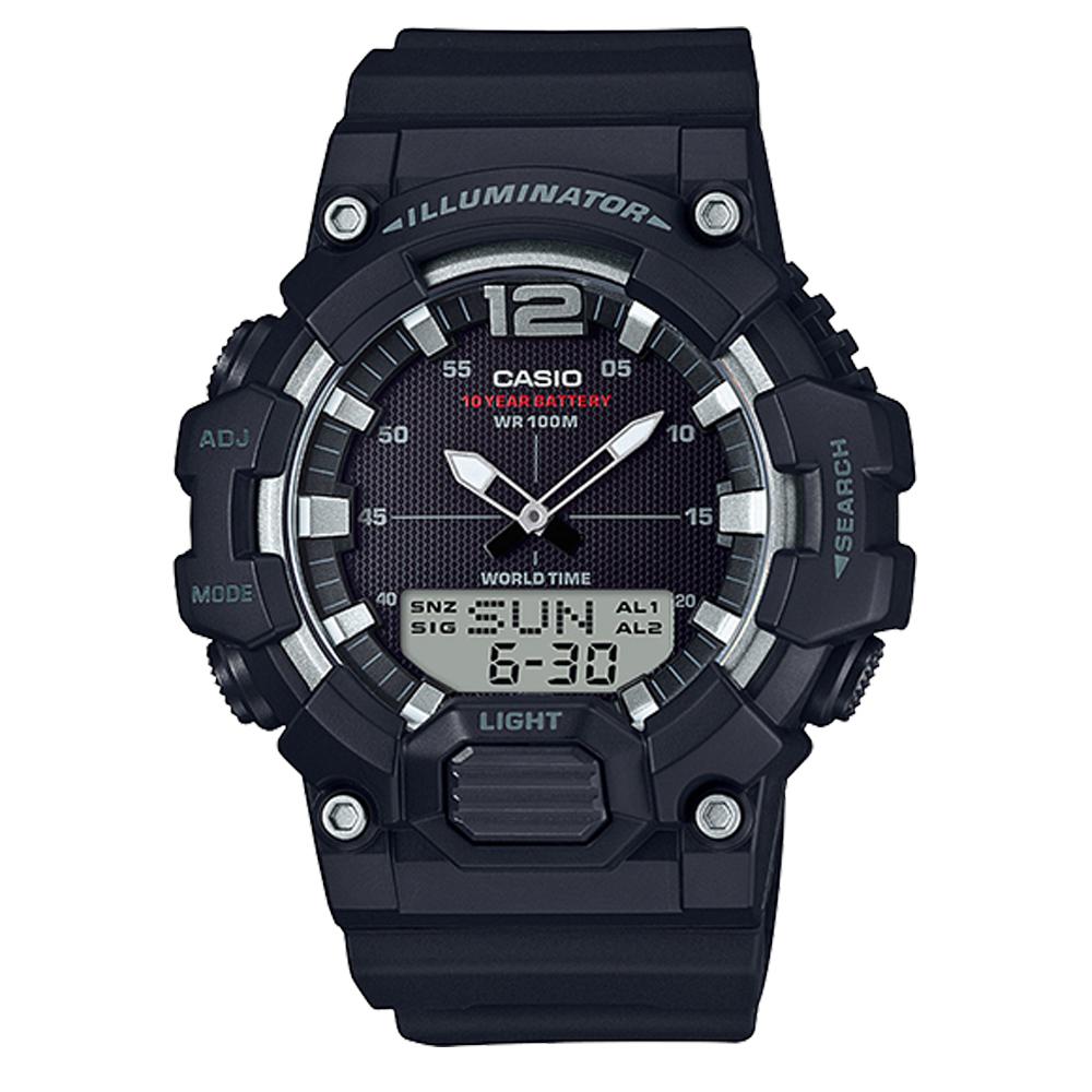 CASIO 經典再現10年電力雙顯電子錶(HDC-700-1A)-黑/48.8mm