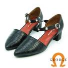GEORGE 喬治-閃耀動人壓紋牛皮扣帶粗跟鞋-黑色