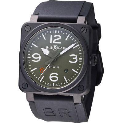 Bell & Ross 飛鷹戰士自動機械腕錶-軍綠色/42mm