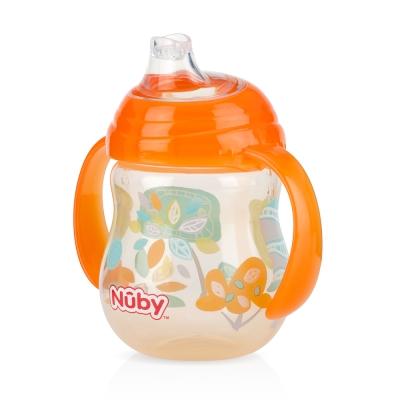 Nuby 卡拉防漏雙耳飲嘴杯270ml(幾何款)-橘(4m+)