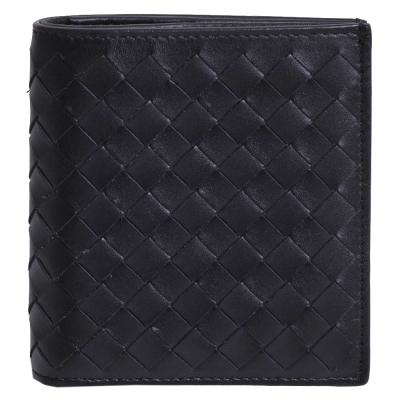 BOTTEGA VENETA 經典皮革編織直式六卡短夾(黑)