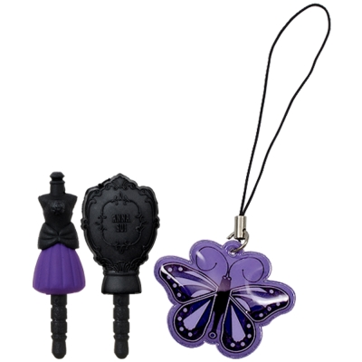 ANNA SUI 安娜蘇 迷你美甲/魔鏡造型防塵塞+紫蝶手機吊飾
