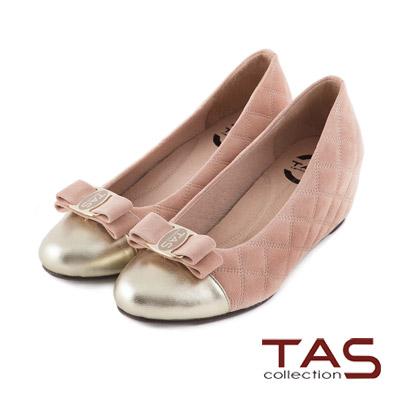 TAS-太妃Q系列-柔軟乳膠LOGO蝴蝶結菱格紋楔型娃娃鞋-柔嫩粉