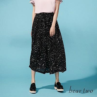 beartwo 網路獨家-完美復刻閃耀星星長版寬褲(黑色)