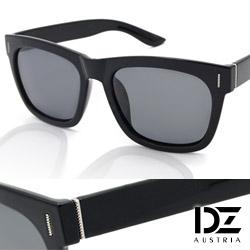 DZ 知性點線紋 抗UV 偏光太陽眼鏡墨鏡(黑框灰片)