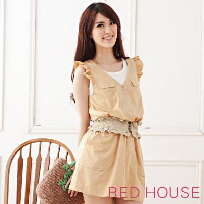RED-HOUSE-蕾赫斯-簡約V領拉鍊休閒洋裝