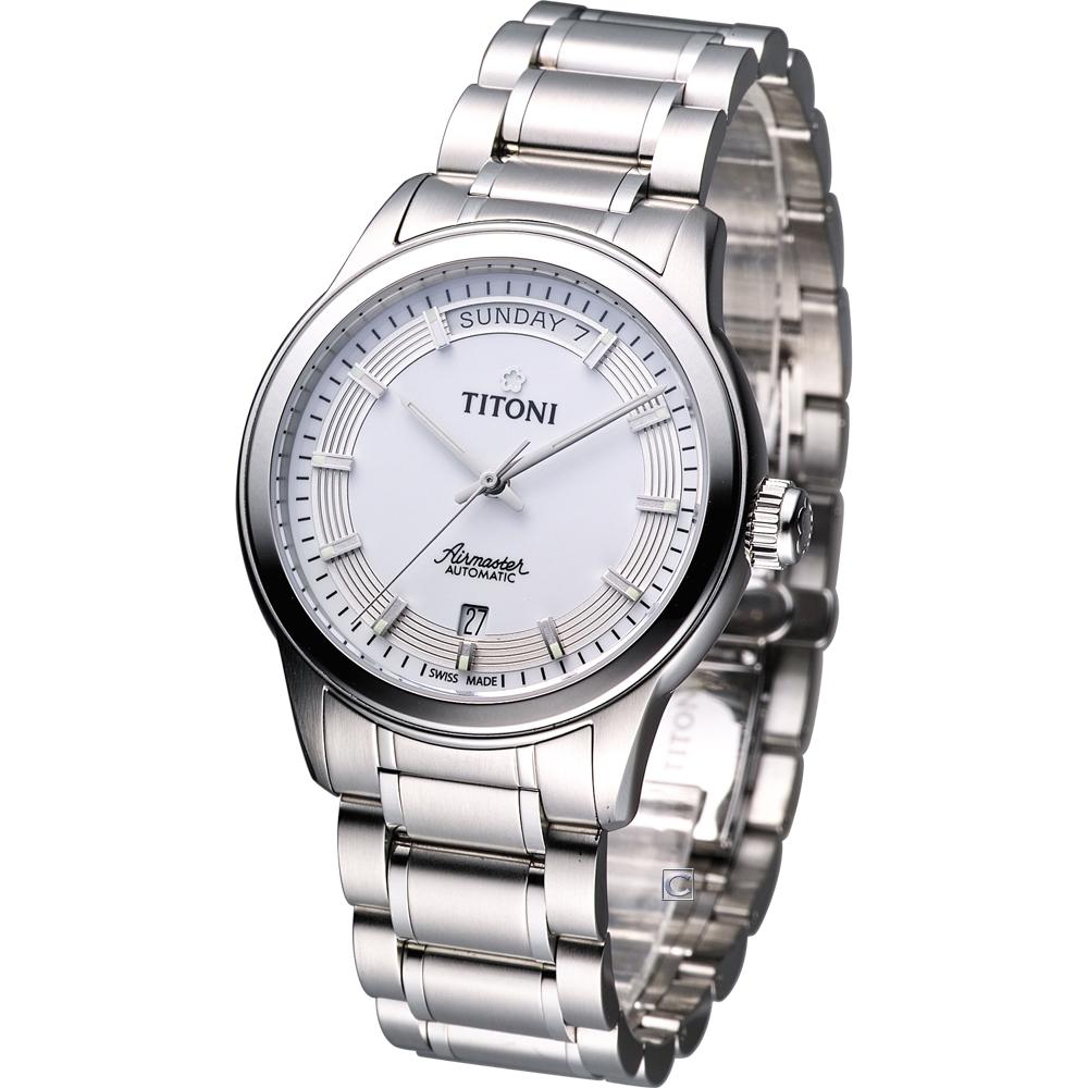 TITONI Airmaster系列 紳士機械腕錶-白/39mm