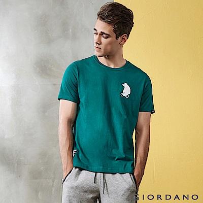 GIORDANO 男裝BOB小熊印花純棉印花T恤-21 溼地綠