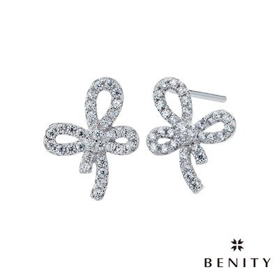 BENITY 小步舞曲 925銀 鍍白金 八心八箭cz美鑽 耳環
