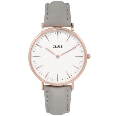 CLUSE荷蘭精品手錶 波西米亞玫瑰金系列 白錶盤/粉灰皮革錶帶38mm